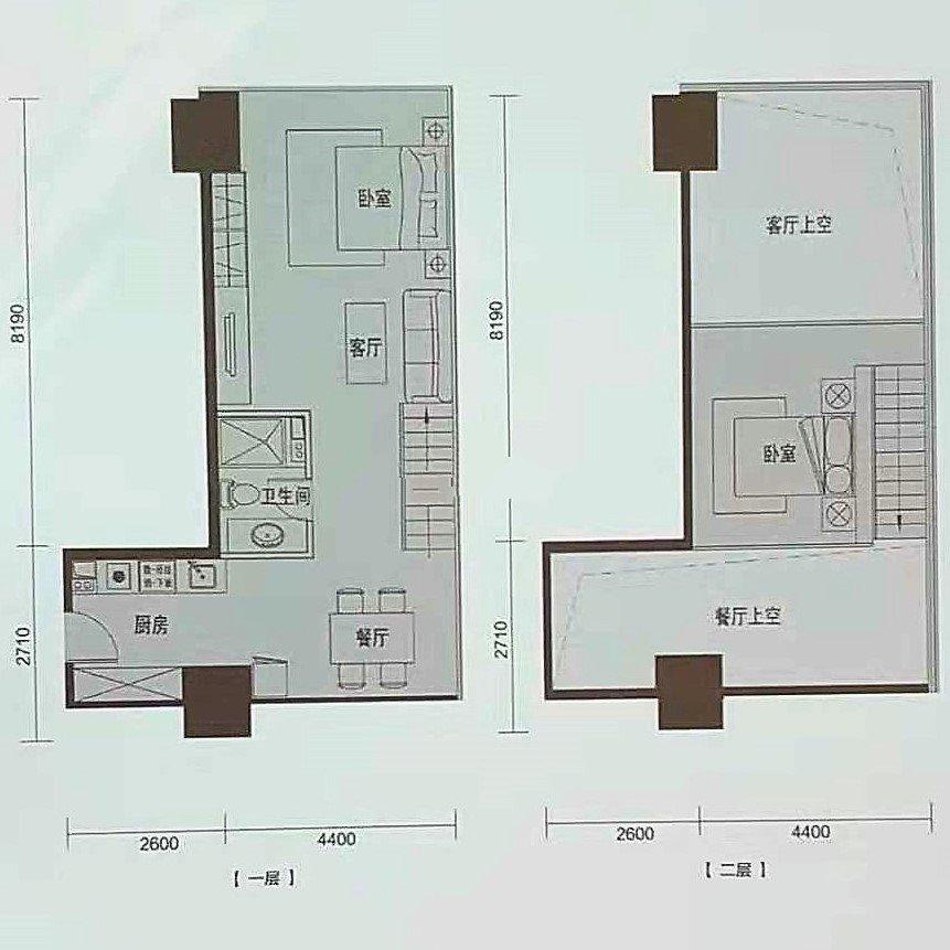 E1 2室2厅1卫1厨 建面75㎡