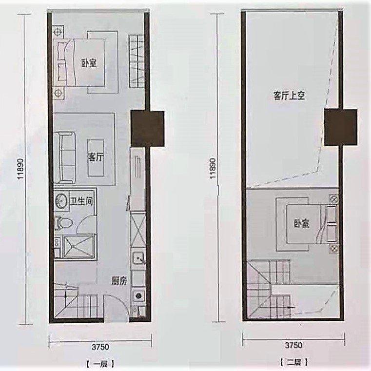 B2 2室1厅1卫1厨 建面58㎡