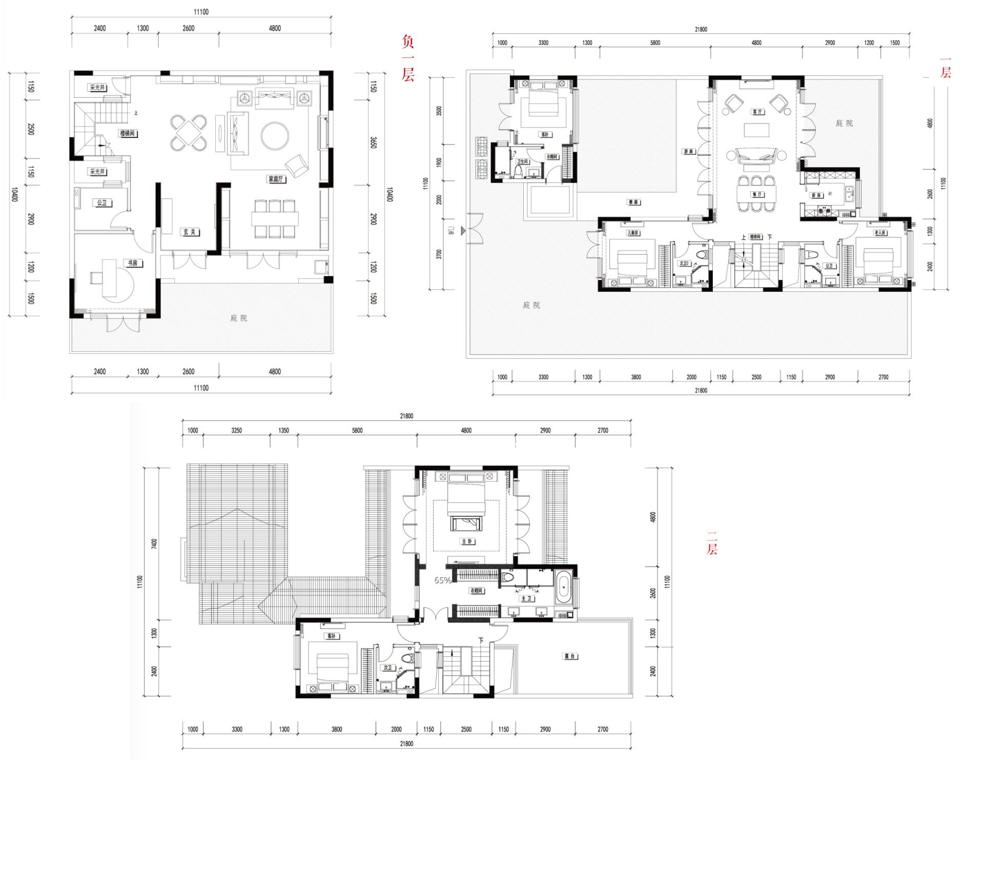 别墅C1  5室3厅5卫1厨建面330㎡
