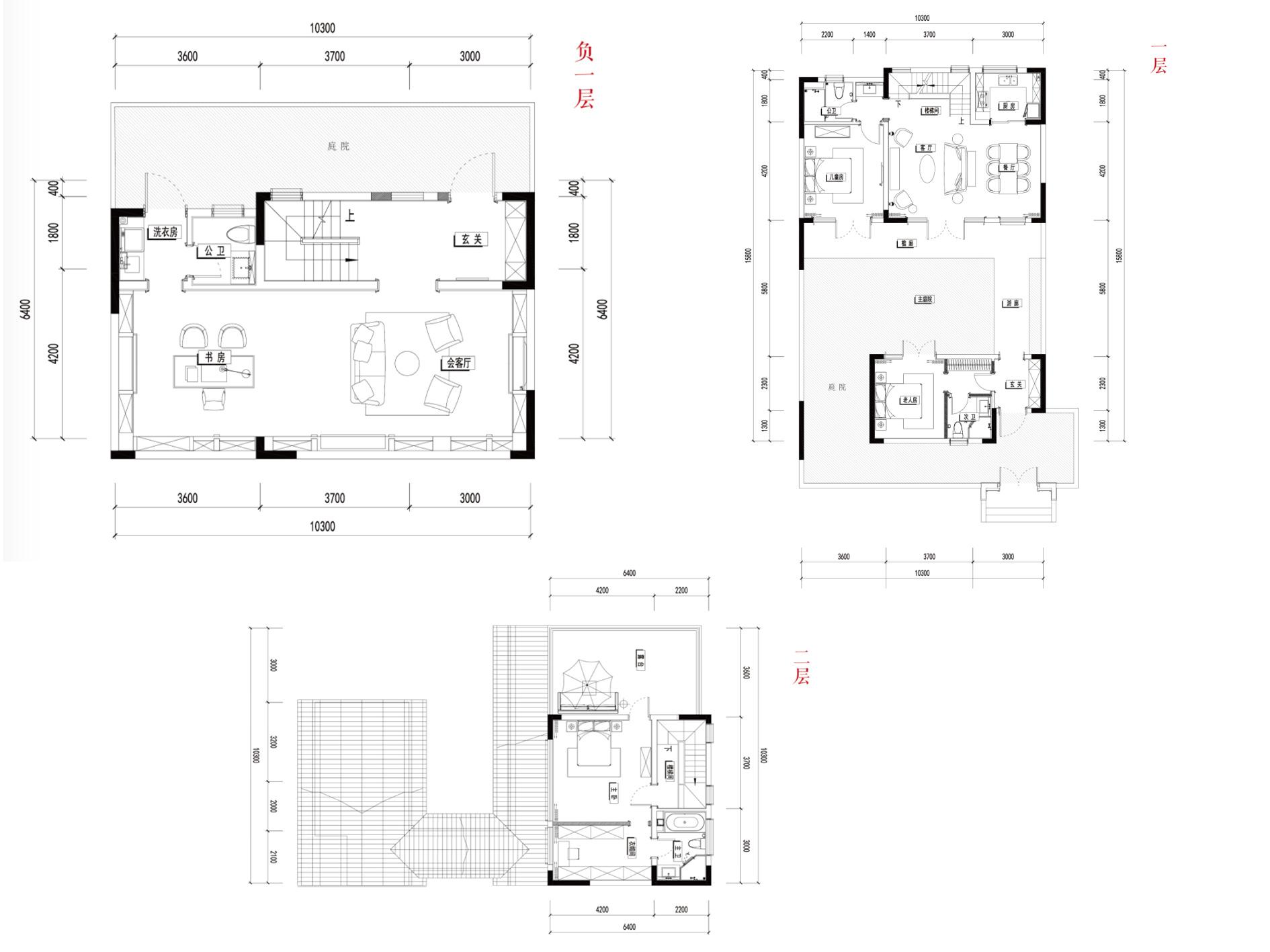 别墅A1- 3室3厅4卫1厨建面215㎡
