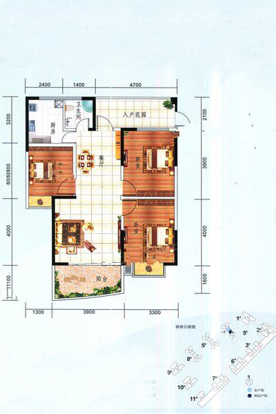 4#一单03户型 3室2厅1卫1厨 建面108㎡