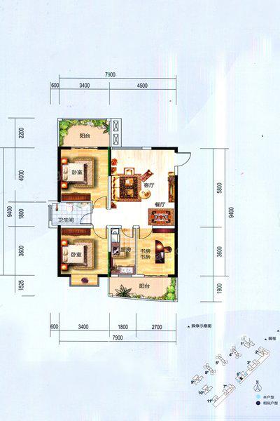 6#03、04户型  3室2厅1卫1厨 建面102㎡