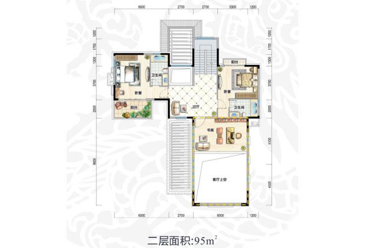 V2户型 6室4厅6卫1厨 建面516.64㎡(二层)