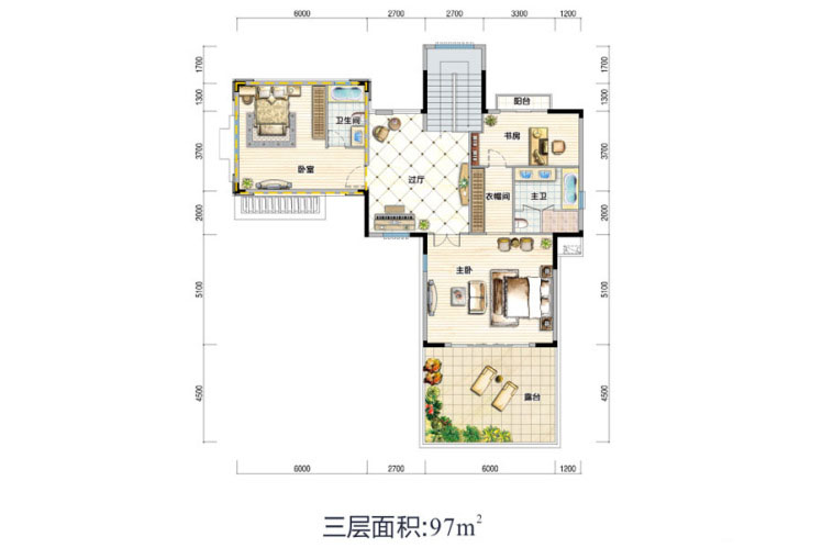 V2户型 6室4厅6卫1厨 建面516.64㎡(三层)