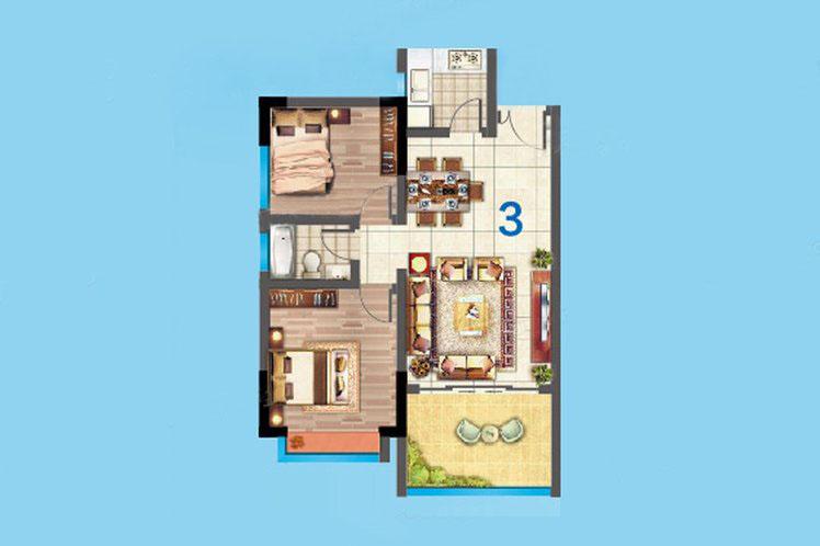 5#03户型 2室2厅1卫1厨 建面71.㎡