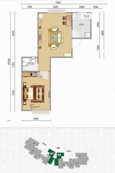 C1户型 1室1厅1卫1厨 建面48.40㎡