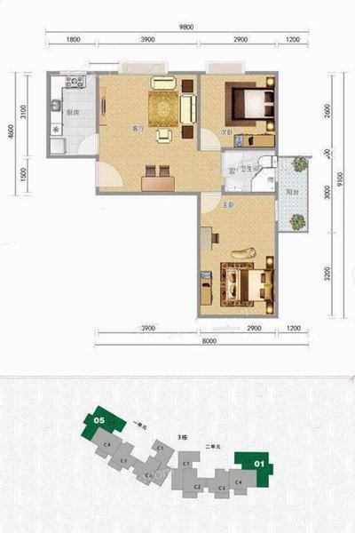 C5户型 1室1厅1卫1厨 建面67.41㎡