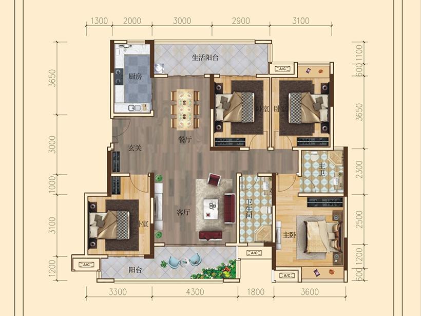 4室2厅2卫 建面136.00㎡