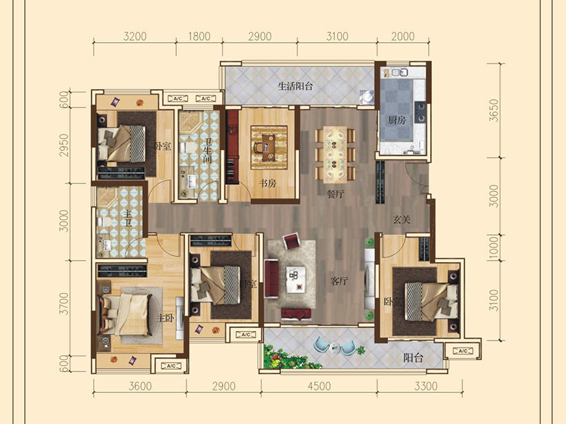 5室2厅2卫  建面152.00㎡