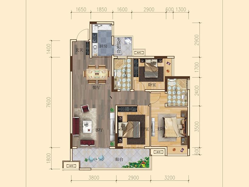 3室2厅2卫 建面98.00㎡