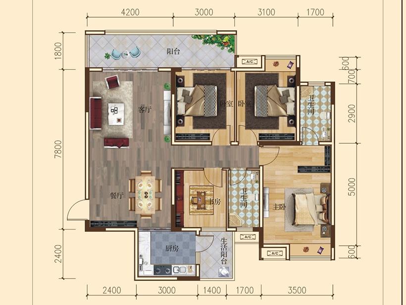 4室2厅2卫  建面125.00㎡