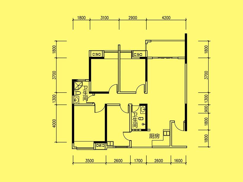 D6  3室1厅2卫 建面67.89㎡