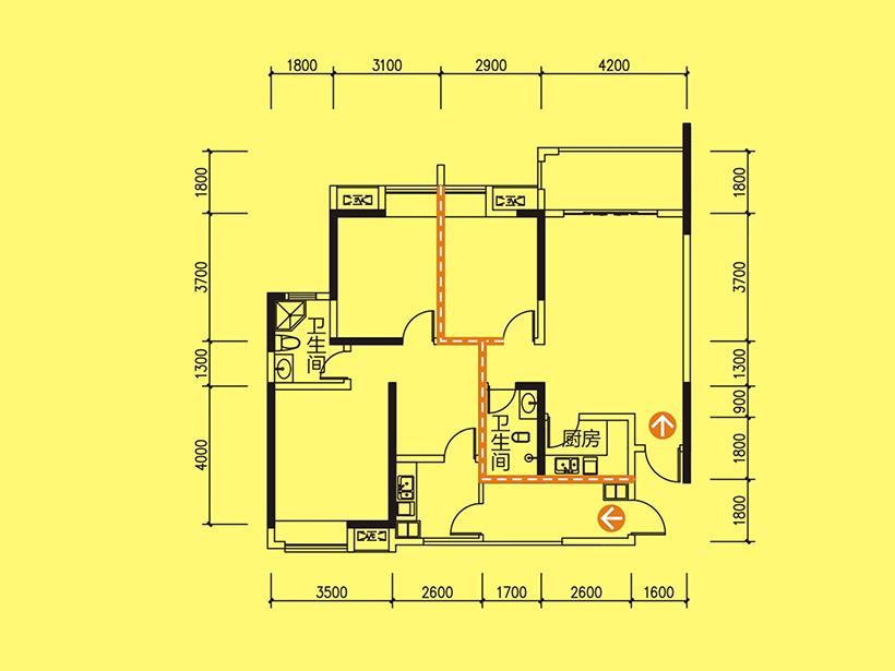 D5  3室1厅2卫 建面66.31㎡