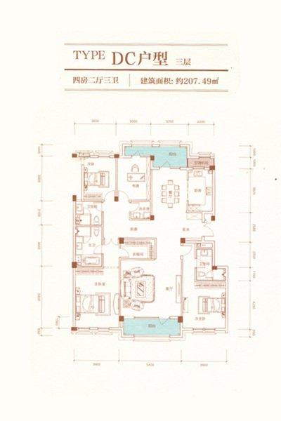 DC户型 4室2厅3卫 建面207.49㎡
