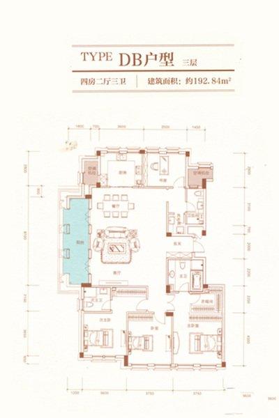 DB户型  4室2厅3卫 建面192.84㎡