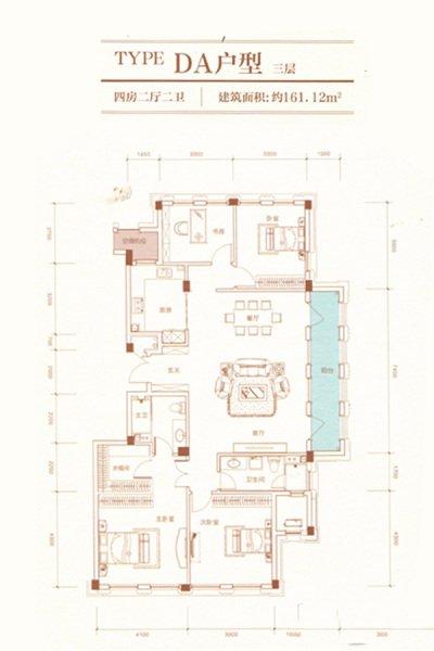 DA户型 4室2厅2卫 建面161.12㎡