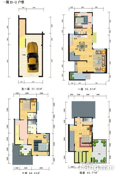 一期D-2户型居室:5室2厅4卫1厨建筑面积:267.77㎡