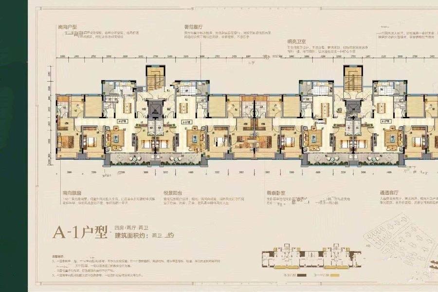 A_1洋房户型 4室2厅2卫 建面142㎡