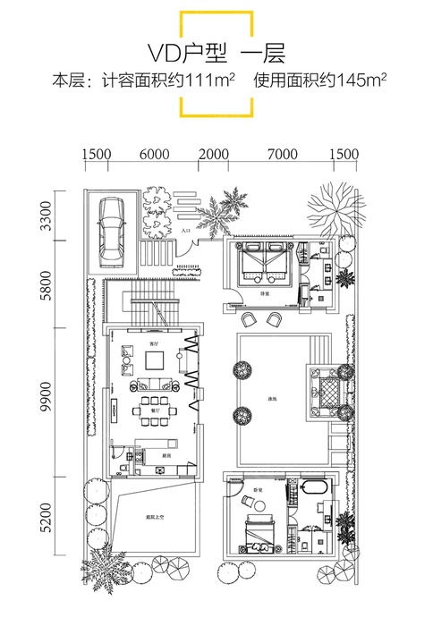 VD一层户型-4室4厅6卫-建面161.0㎡