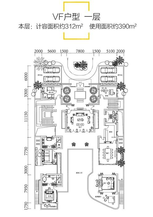 VF户型-7室5厅9卫-建面514.0㎡