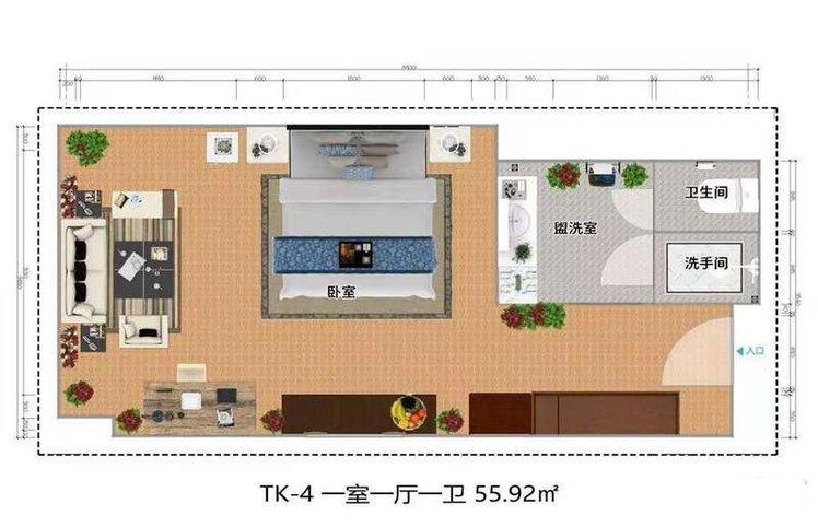 TK-4居 1室1厅1卫1厨 建面55.92㎡