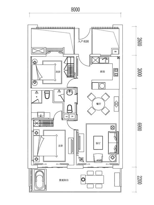 2室2厅2卫-建面110.0㎡