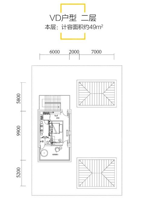 VD二层户型-4室4厅6卫-建面161.0㎡