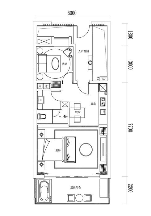 2室1厅1卫-建面80.0㎡
