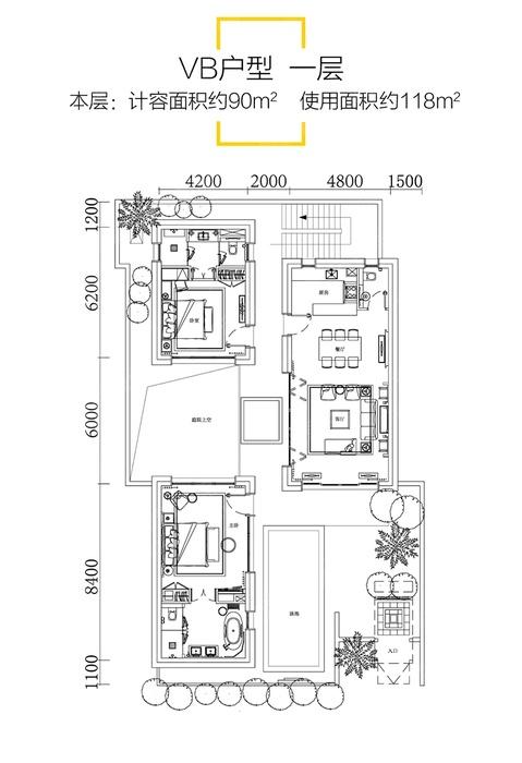 VB户型-4室4厅6卫-建面90.0㎡