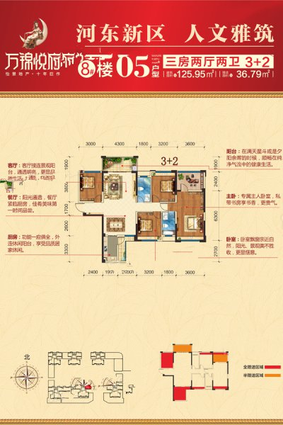 8#楼05户型 3室2厅2卫 建面125.95㎡