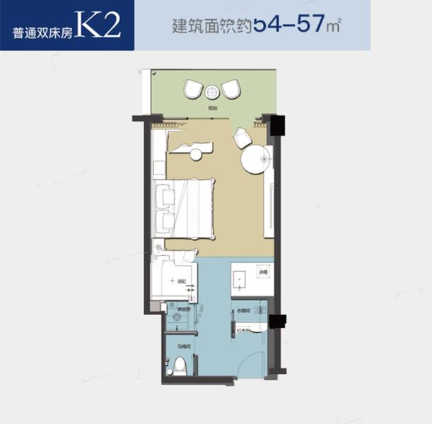 K2户型1室1厅1卫1厨 建面54.00㎡