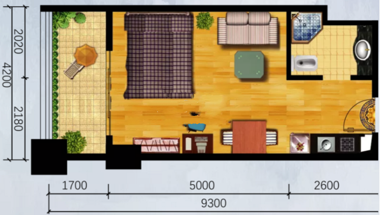 一室户型 一室一厅一厨一卫 建面43.75㎡