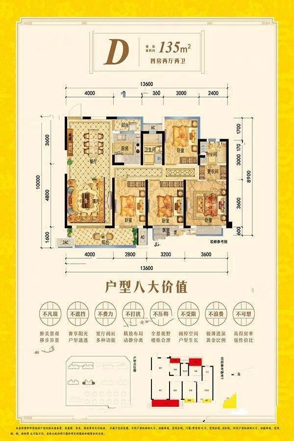4室2厅1厨2卫 135㎡(建面)