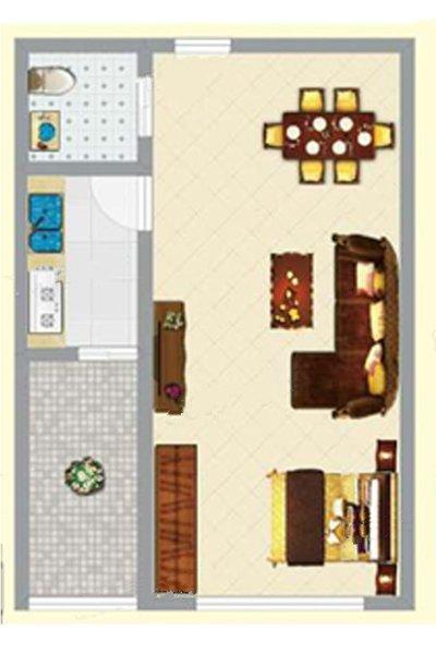 3#2单元05户型 1室1卫1厅 建面41.50㎡