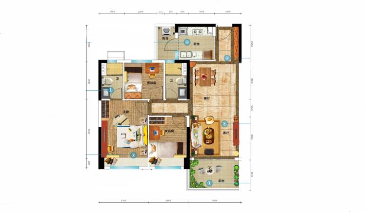 YJ100户型 3室2厅2卫1厨 建面105㎡