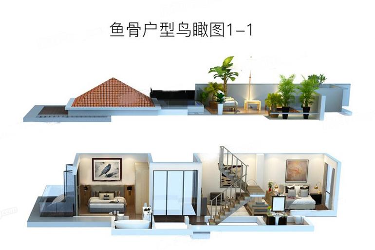鱼骨户型鸟瞰图1-1  3室2厅1卫1厨 建筑面积:200.00㎡