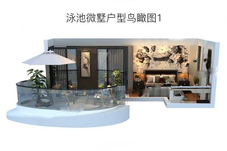 泳池微墅戶型鳥瞰圖1 3室2廳1衛1廚 建筑面積:200.00㎡