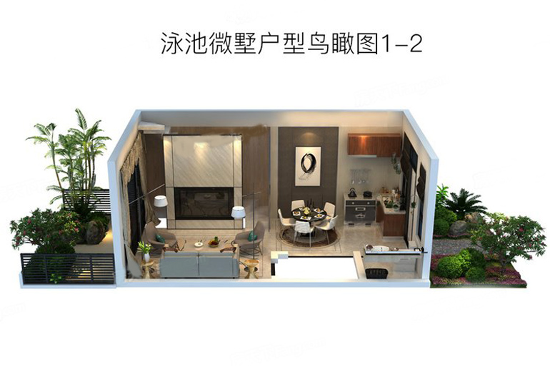 泳池微墅戶型鳥瞰圖2 3室2廳1衛1廚 建筑面積:200.00㎡