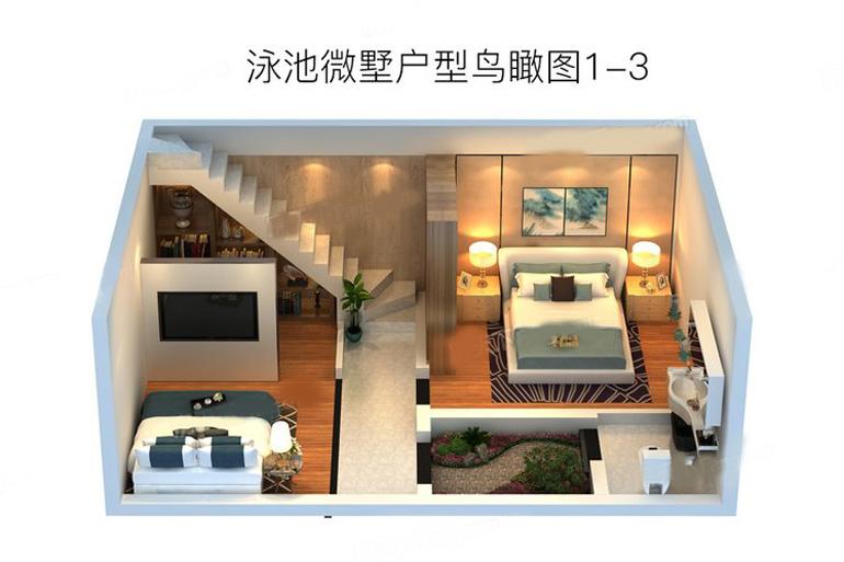 泳池微墅戶型鳥瞰圖3 3室2廳1衛1廚 建筑面積:200.00㎡