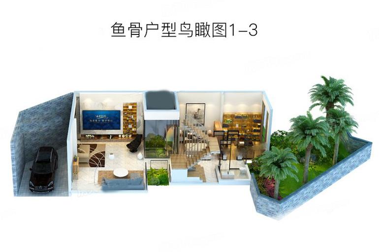 魚骨戶型鳥瞰圖1-2  3室2廳1衛1廚 建筑面積:200.00㎡