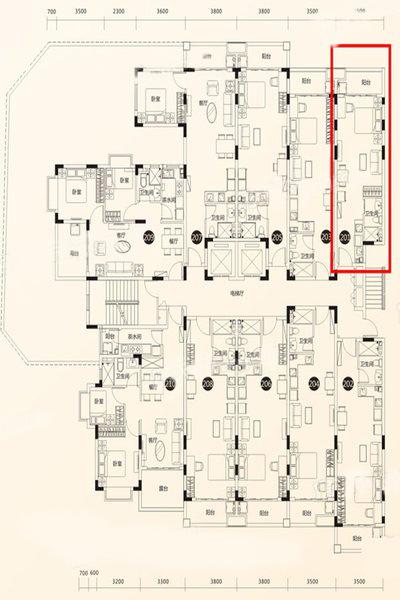 1室1厅1卫1厨 建筑面积:44.85㎡