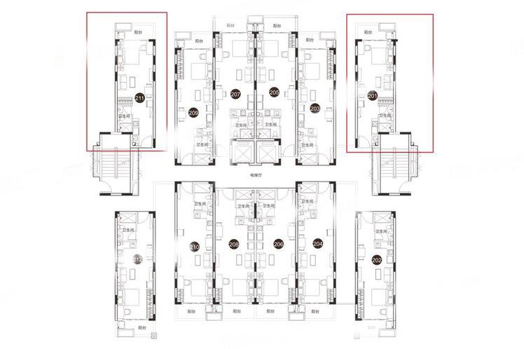 45.9㎡户型 1室1厅1卫1厨 建筑面积:45.90㎡