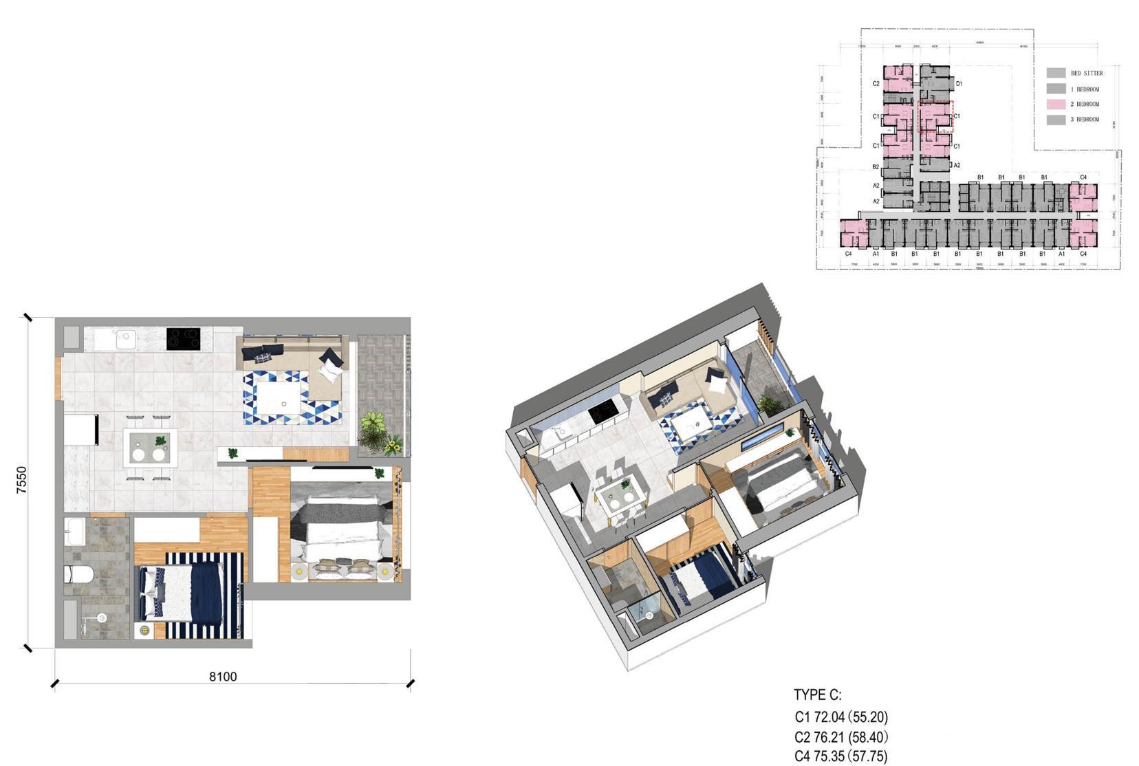 C户型两房一厅 建面72-76㎡