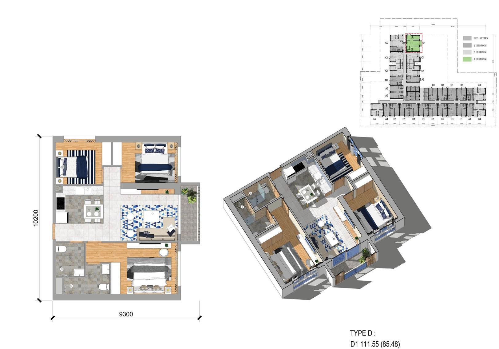D户型三房两厅 建面111㎡