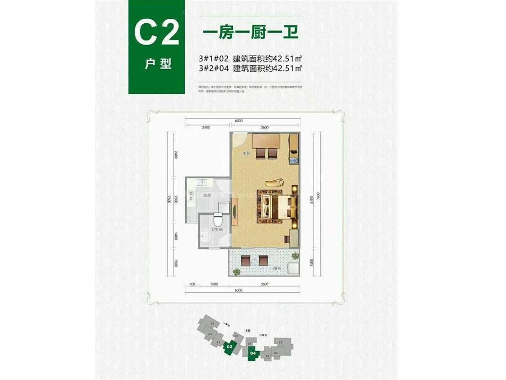 C2户型 1室1厅1卫 建面42.51㎡
