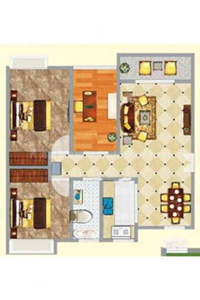 3#1单元01-02户型 3室2厅1卫1厨 建筑面积:91.73㎡