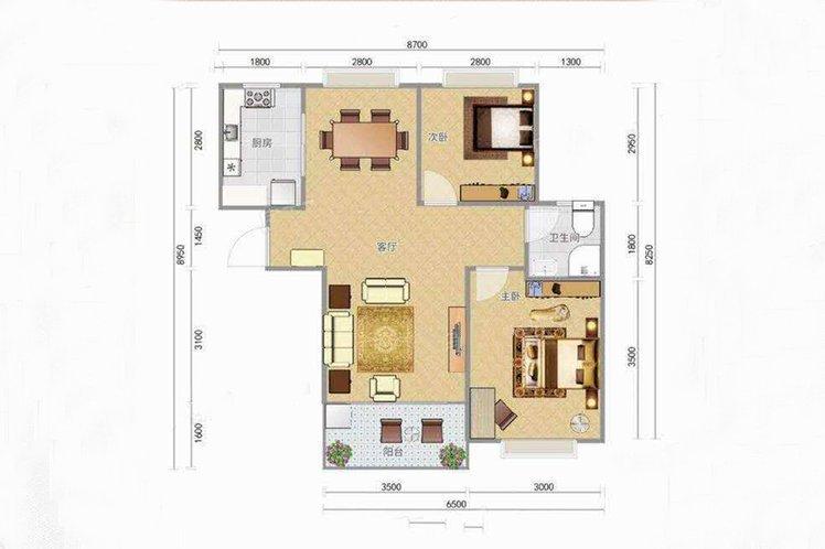 C户型 2室2厅1卫 建面76.93㎡