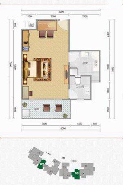 C3户型 1室1厅1卫 建面41.53㎡