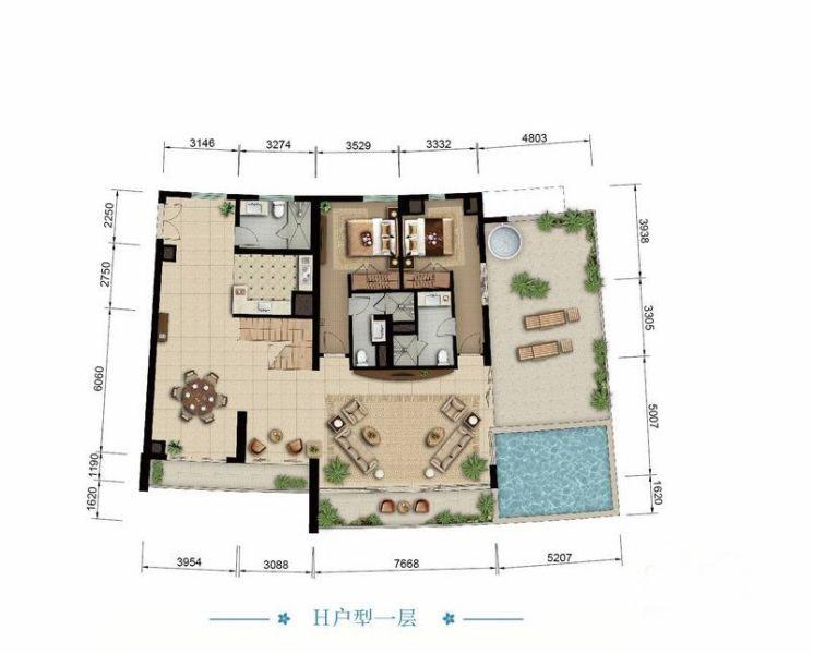 海景公寓H一层户型 2室2厅3卫1厨 建筑面积:223.25㎡