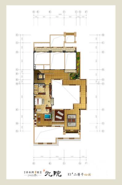Ⅱ期-九院--E1'户型-一层平面图 4室3厅5卫1厨 建筑面积:246.25㎡